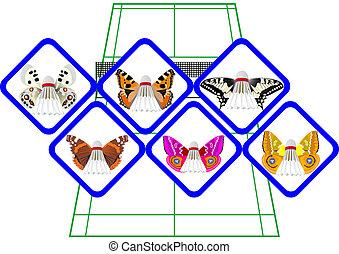 Abstract shuttlecocks butterfly