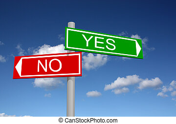 Signpost for yes (green) and no (red) with sky background