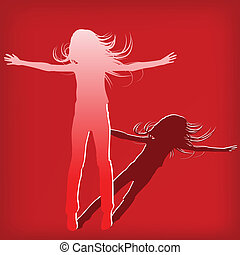 abstract silhouette girl which jump background