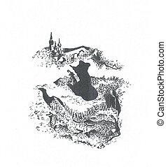abstract, silhouette, heuvel, illustratie, man