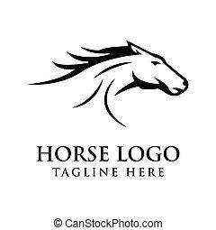 Abstract silhouette horse logo design Vector