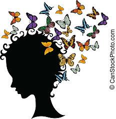 abstract, silhouette, jong meisje, gezicht