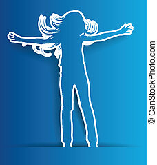 abstract silhouette jump girl background