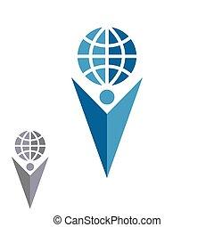 Abstract silhouette man logo holding globe, human shape arrow hand up emblem success company