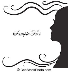 Abstract silhouette of a girl in profile with beautiful hairstyle, long hair. Fashion icon