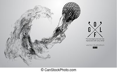 Abstract silhouette of a golf ball on the white background from particles, dust, smoke, steam. Golf player, golfer. Background can be changed to any other. Vector illustration