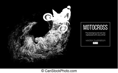 Abstract silhouette of a motocross rider on dark black...