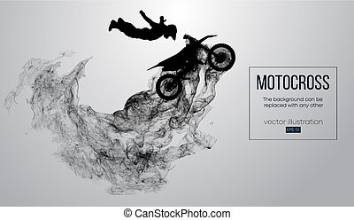 Abstract silhouette of a motocross rider on white background...