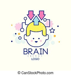 Abstract silhouette of child head in thinking process. Generation of knowledge. Children education and creativity. Brain energy symbol. Outline logo for kids development center