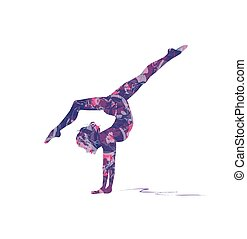 gymnastics - abstract silhouette of girl who practice ...