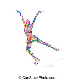 ice skater - abstract silhouette of ice skater