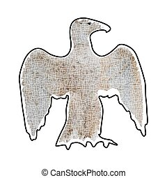 Abstract silhouette of large eagle mosaic brown