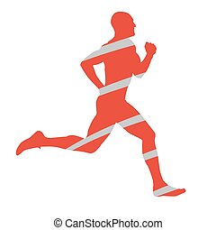 Abstract silhouette of running man