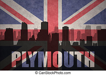 abstract silhouette of the city with text Plymouth at the vintage british flag
