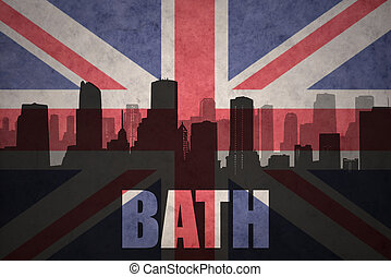 abstract silhouette of the city with text Bath at the vintage british flag