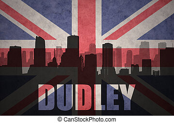 abstract silhouette of the city with text Dudley at the vintage british flag