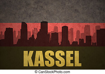 abstract silhouette of the city with text Kassel at the...