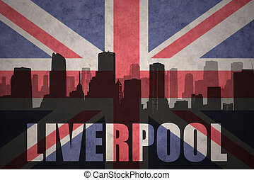 abstract silhouette of the city with text Liverpool at the vintage british flag