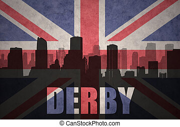 abstract silhouette of the city with text Derby at the vintage british flag