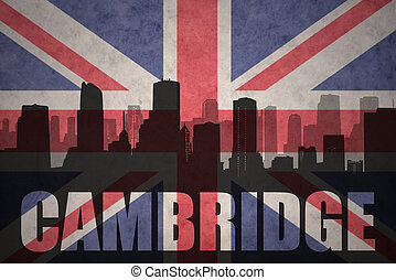 abstract silhouette of the city with text Cambridge at the vintage british flag