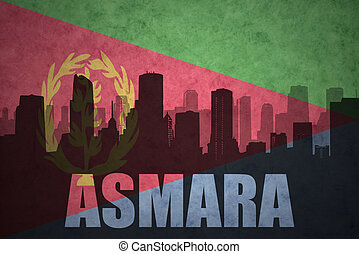 abstract silhouette of the city with text Asmara at the vintage eritrean flag
