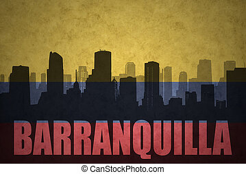 abstract silhouette of the city with text Barranquilla at the vintage colombian flag background