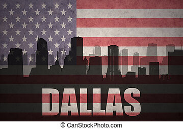 abstract silhouette of the city with text Dallas at the vintage american flag