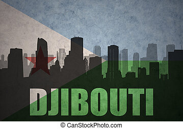 abstract silhouette of the city with text djibouti at the vintage djibouti flag