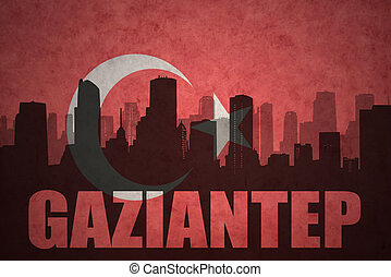 abstract silhouette of the city with text Gaziantep at the ...