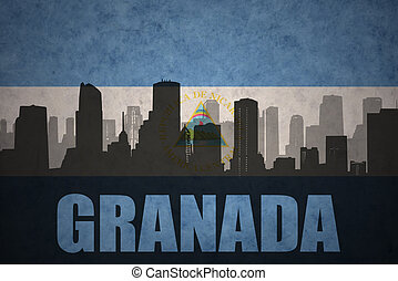 abstract silhouette of the city with text Granada at the...