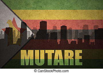 abstract silhouette of the city with text Mutare at the ...