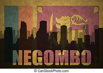abstract silhouette of the city with text Negombo at the...