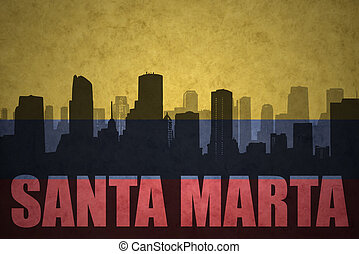 abstract silhouette of the city with text Santa Marta at the...