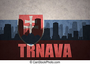 abstract silhouette of the city with text Trnava at the vintage slovakia flag