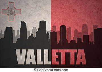 abstract silhouette of the city with text valletta at the vintage maltese flag