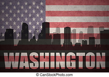 abstract silhouette of the city with text Washington at the vintage american flag