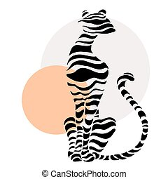 Abstract silhouettes of big cat.