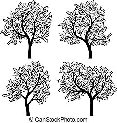 Abstract silhouettes of trees. - Set of abstract vector...