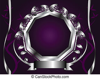 Abstract Silver and Purple Floral Vector Design