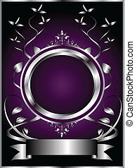 Abstract Silver and Purple Floral Vector Design - A silver...