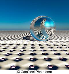 Abstract Silver Ball on Future Horizon
