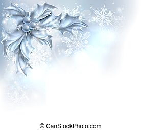 Abstract Silver Christmas Holly Background - Christmas Holly...