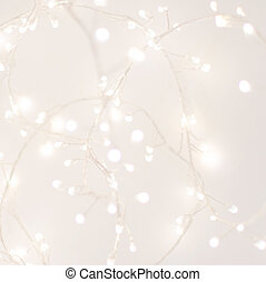 Abstract Silver Christmas Winter Background with festive glowing bokeh lights, copyspace