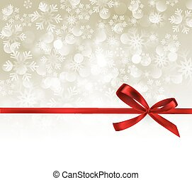 Abstract silver light background with red ribbon