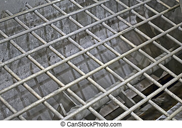 abstract silver metal grid, industry details