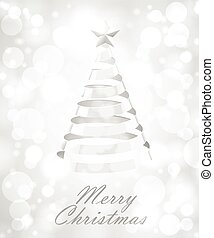 Abstract Silver Ribbon Christmas Tree On White Background