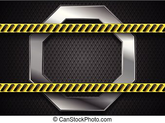 Abstract silver technology background with danger tape
