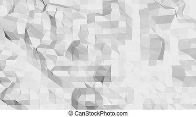 Abstract simple black and white low poly waving 3D surface as elegant background. Grey geometric vibrating environment or pulsating background in cartoon low poly popular stylish 3D design.