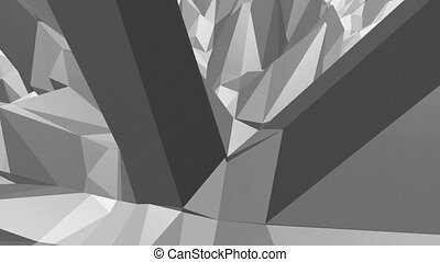 Abstract simple black and white low poly waving 3D surface as futuristic background. Grey geometric vibrating environment or pulsating background in cartoon low poly popular stylish 3D design.