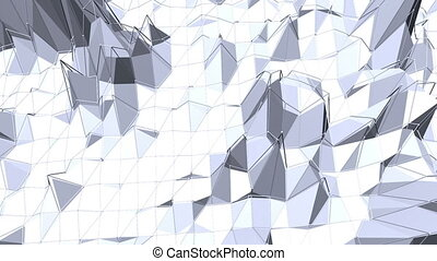 Abstract simple black and white low poly waving 3D surface as glamour landscape. Grey geometric vibrating environment or pulsating background in cartoon low poly popular stylish 3D design.